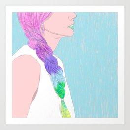 THE GIRL WITH THE RAINBOW BRAID Art Print