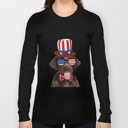 Cool Dog Wearing American Flag Sunglasses Men Women T Shirt Funny Cute Labrador Lovers Graphic Tee Long Sleeve T-shirt