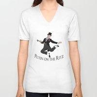putin V-neck T-shirts featuring Putin on the Ritz by Ellie Bockert Augsburger