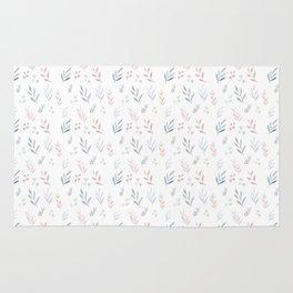 Pastel Leaf Pattern Rug