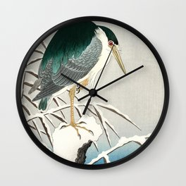 Heron in snow - Japanese vintage woodblock print art Wall Clock