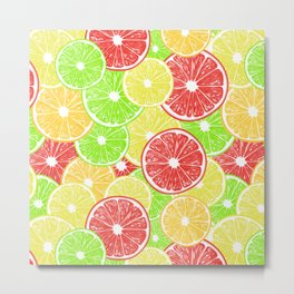 Lemon, orange, grapefruit and lime slices pattern design Metal Print