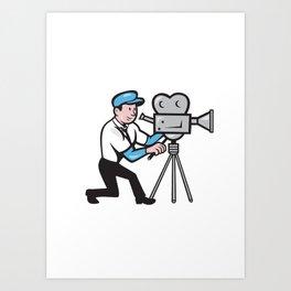 Cameraman Vintage Film Movie Camera Side Cartoon Art Print