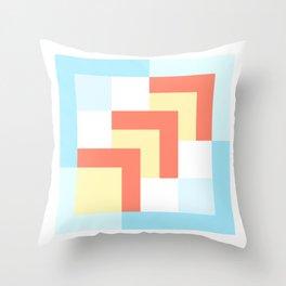 Squares Cyan + Burnt Umber Throw Pillow