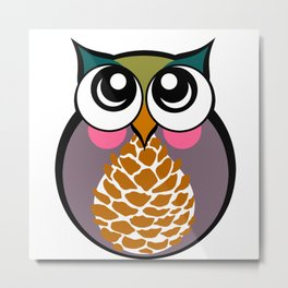 Purple Owl Metal Print