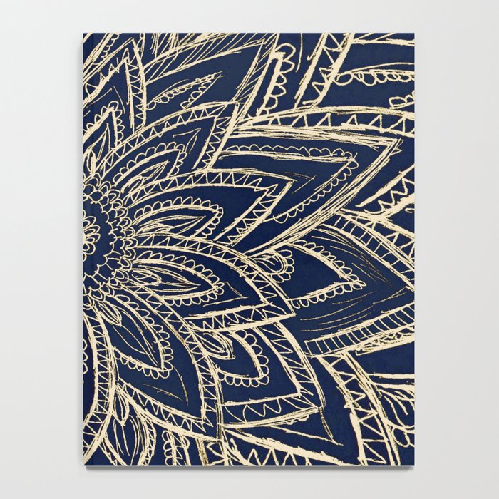 Cute Retro Gold abstract Flower Drawing  geometric Notebook