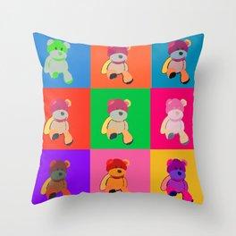 Pop Art Teddy Bear Throw Pillow