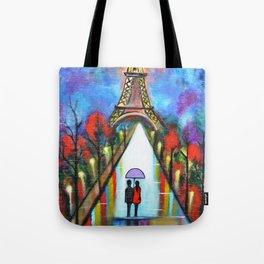 Love In Paris Romantic Painting Valentine Giftart Tote Bag