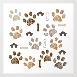 Brown colored paw print with bone and dog hut Art Print