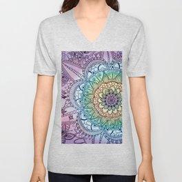Purple Butterfly Mandala Unisex V-Neck