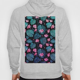 Modern neon pink blue green tropical floral illustration Hoody