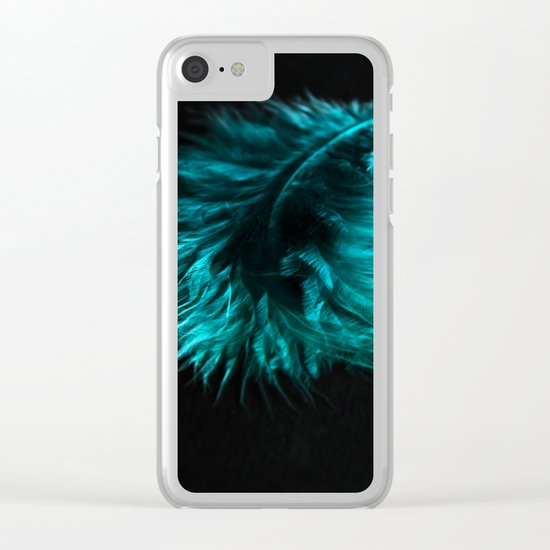 Feather in green-turquoise Clear iPhone Case