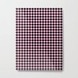 Black and Cotton Candy Pink Diamonds Metal Print