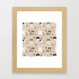 Pekingese dog breed dog pattern pet portraits coffee food dog breeds pet friendly Framed Art Print
