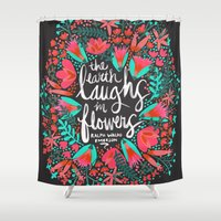 waldo Shower Curtains featuring The Earth Laughs in Flowers – Pink & Charcoal by Cat Coquillette