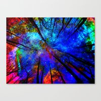 decal Canvas Prints featuring Colorful forest by haroulita