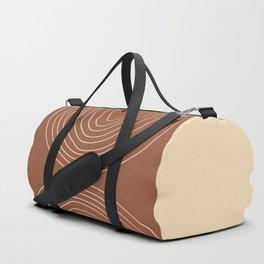 Hand drawn Geometric Lines in Terracotta and Beige 2 Duffle Bag