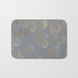 Golden Leaves - Gray Bath Mat