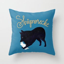 Shipwrecke (Blue and Beige) Throw Pillow