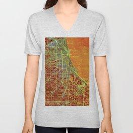 10-Chicago Illinois 1947, old map, orange and red Unisex V-Neck