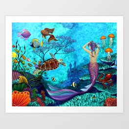 A Fish of a Different Color - Mermaid and seaturtle Art Print