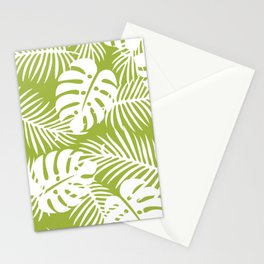 Olive Green Jungle Palm Leaves Pattern Stationery Cards
