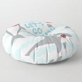 Lets go surfing. Cartoon kawaii dolphin Floor Pillow