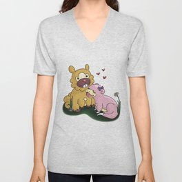 Bidoof and Slowpoke Love Unisex V-Neck