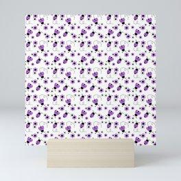 Purple Lavender Ladybug Floral Mini Art Print