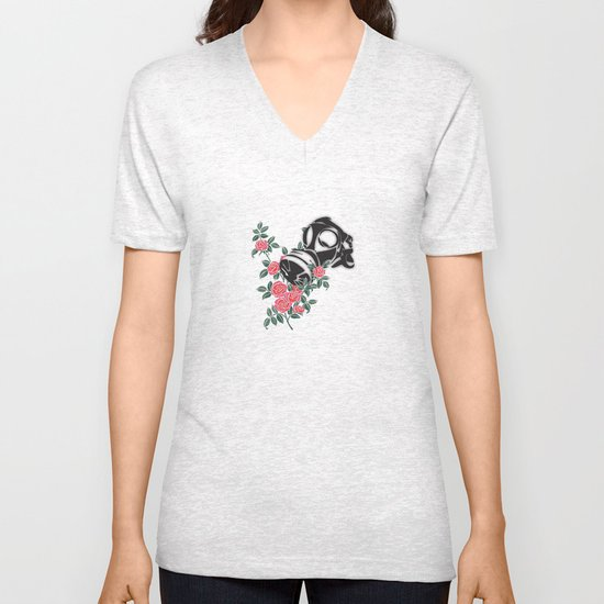 smell the roses - gas mask Unisex V-Neck