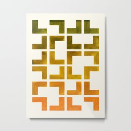 Geometric Pattern L Shaped Watercolor Painting Olive Green Yellow Ochre Colorful Pattern Art Metal Print
