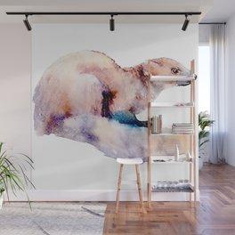 Watercolor Ferret-badger Painting Wall Mural
