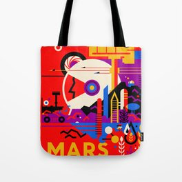 NASA Mars The Red Planet Retro Poster Futuristic Best Quality Tote Bag