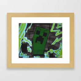 8bit Creeper Spray Painting Framed Art Print