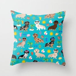 Dachshunds beach summer tropical vacation weener dogs doxie gifts Throw Pillow