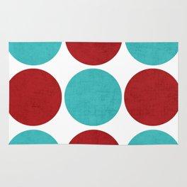 modern dots - aqua and red Rug