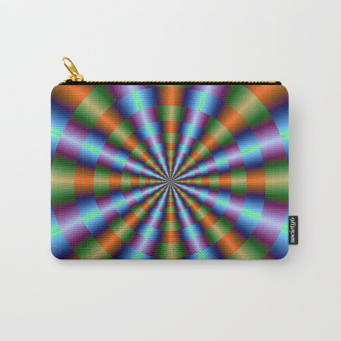 Orange Green Blue and Violet Pleats Carry-All Pouch