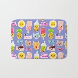 Hello Summer Pineapple, cherry smoothie cup, ice cream, sun, cat, cake, hamster. Kawaii cute face. Bath Mat