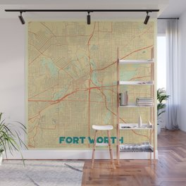 Fort Worth Map Retro Wall Mural