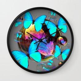 SURREAL NEON BLUE BUTTERFLIES  & SOAP BUBBLES GREY Wall Clock