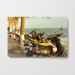 Scooters parked on parking with sea bay on the city beach Metal Print