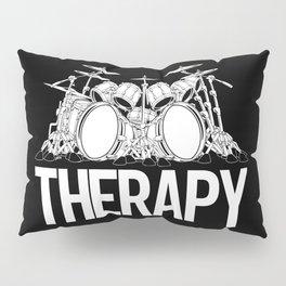 Drummers Therapy Drum Set Cartoon Illustration Pillow Sham