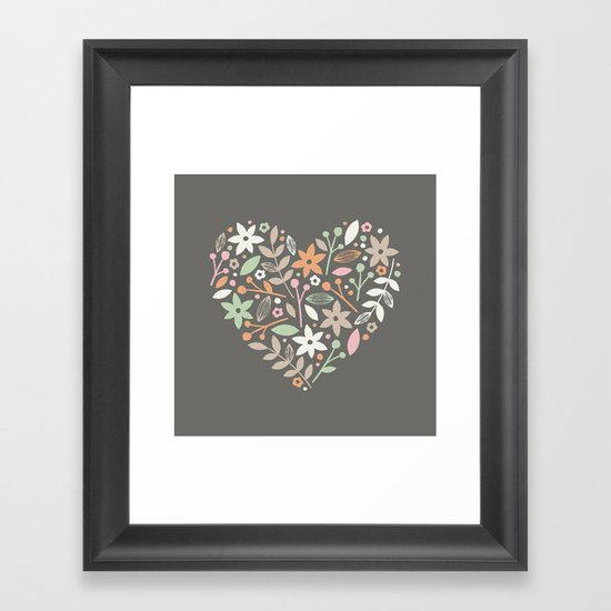 Floral Heart - in Charcoal Framed Art Print