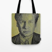 mulder Tote Bags featuring Mulder  by Jenn
