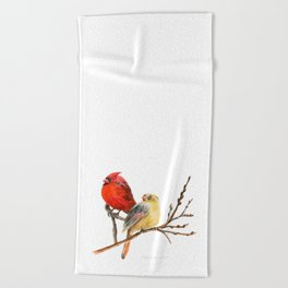 The Perfect Pair - Male and Female Cardinal by Teresa Thompson Beach Towel
