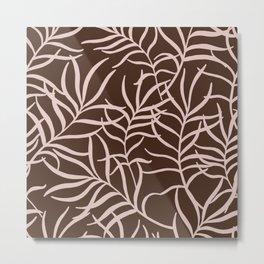 Minimal Braun and Beige Earth Tones Plant Leafes Decor Metal Print
