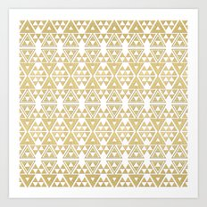White and Gold Geometric Pattern 2 Art Print