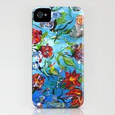 Blue Flower Swirl iPhone (4, 4s) Slim Case