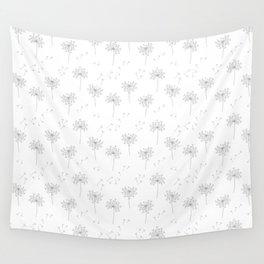 Dandelions in Grey Wall Tapestry