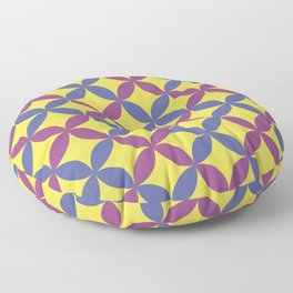 Purple Yellow & Blue Minimal Flower Pattern V10 2021 Color of the Year Illuminating & Accent Shade Floor Pillow